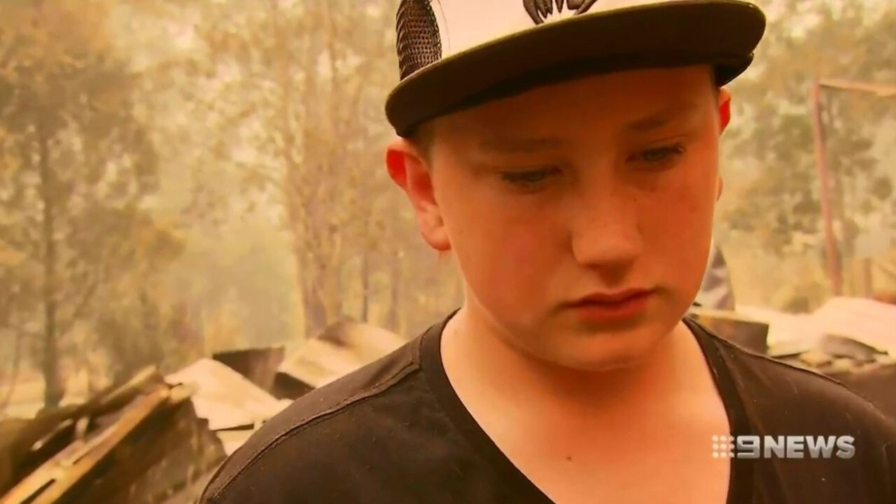 Fourteen-year-old Jake feared his mother might have died in the blaze. Picture: 9 News