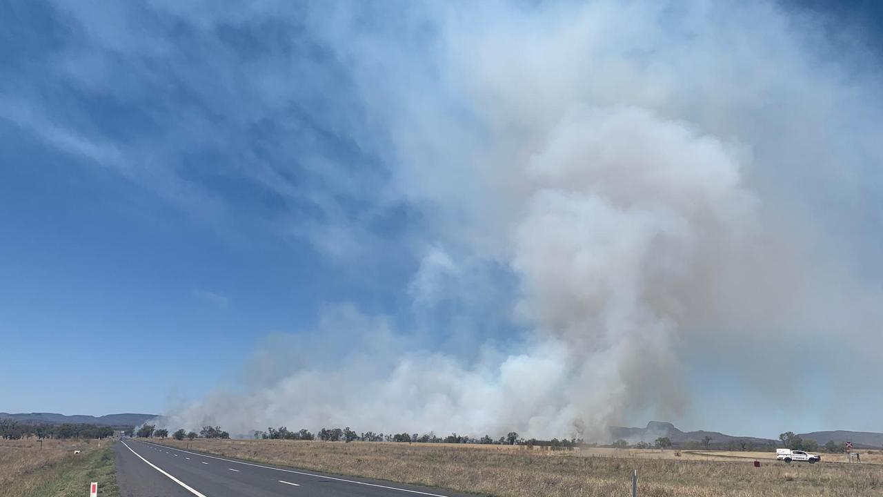 Smoke from the blaze.