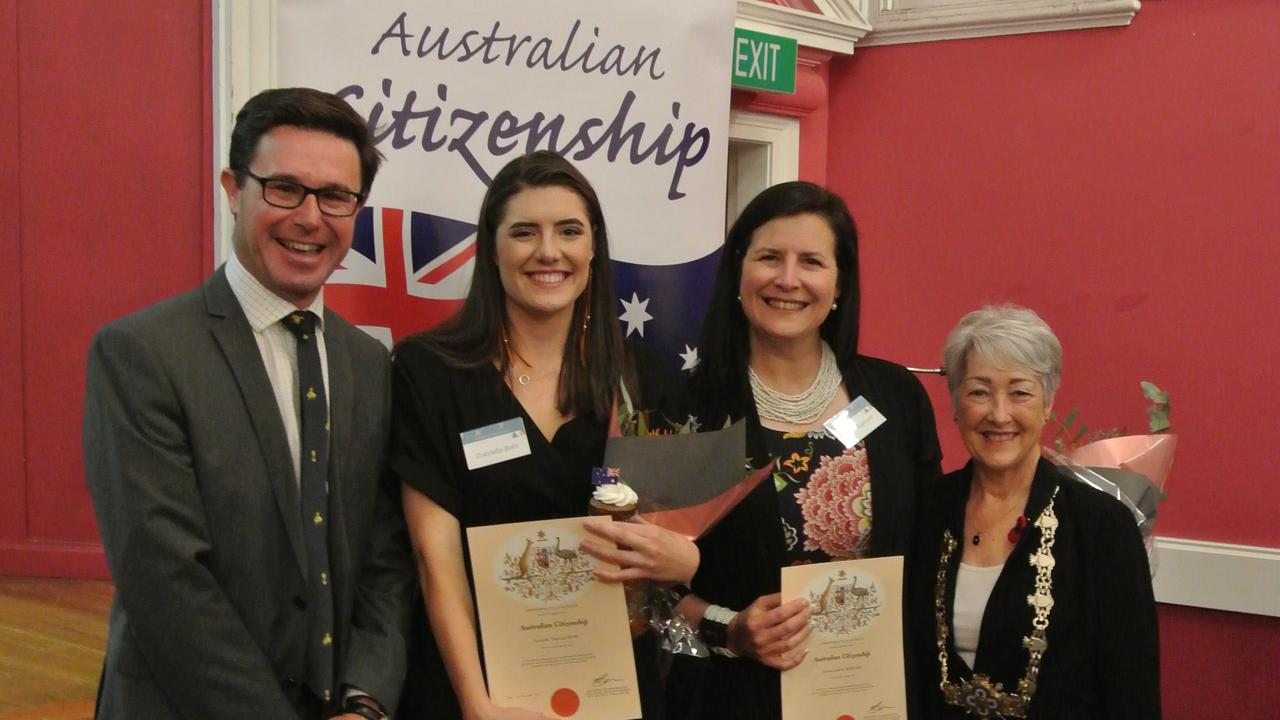 PROUD AUSTRALIANS: Federal Member for Maranoa MP David Littleproud, Gabriella Behr, Izelle Barnard and Mayor of Southern Downs Regional Council Tracy Dobie