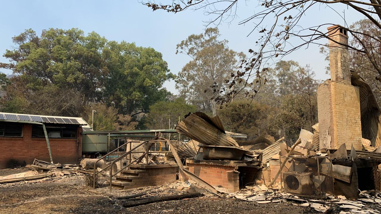 Bobin Public School was destroyed in the NSW bushfires. Picture: Anton Rose