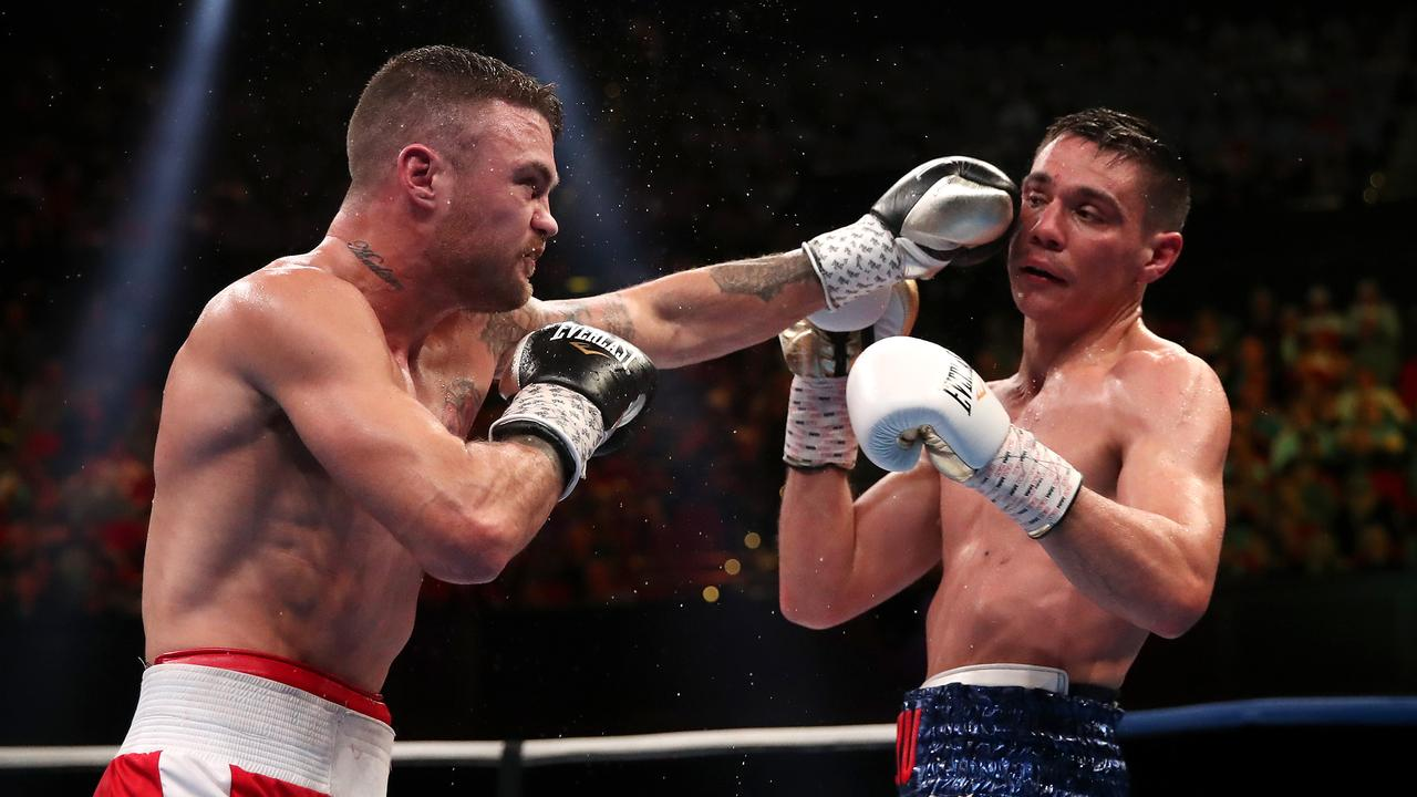 Dwight Ritchie punches Tim Tszyu during his last fight.