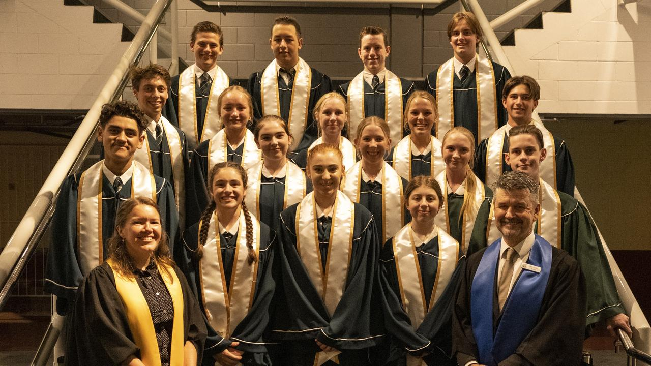 Graduating class photo (L-R):Back Row: Mitchell Gainsford, Teana Hapi, Tyler-Ryan Schulga, Campbell CochraneThird Row: Braden Bush-Micklewright, Jordyn Dahms, Brooke Germain, Riley Spring, Johnathan WilliamsSecond Row: Nui Kelly, Haley Brown, Bianca Johnson, Sarah Anderson, Riley CarkeetFront Row: Miss Laura Bagnall, Hannah Brebner, Chelsea Kerr, Sophia Krause, Principal Mr Brett Costin