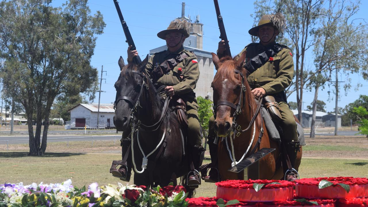 Trooper Paul Johnston, Troop Sergeant Wayne Brown and their steeds Sydney and Molly from the 5th Light Horse.
