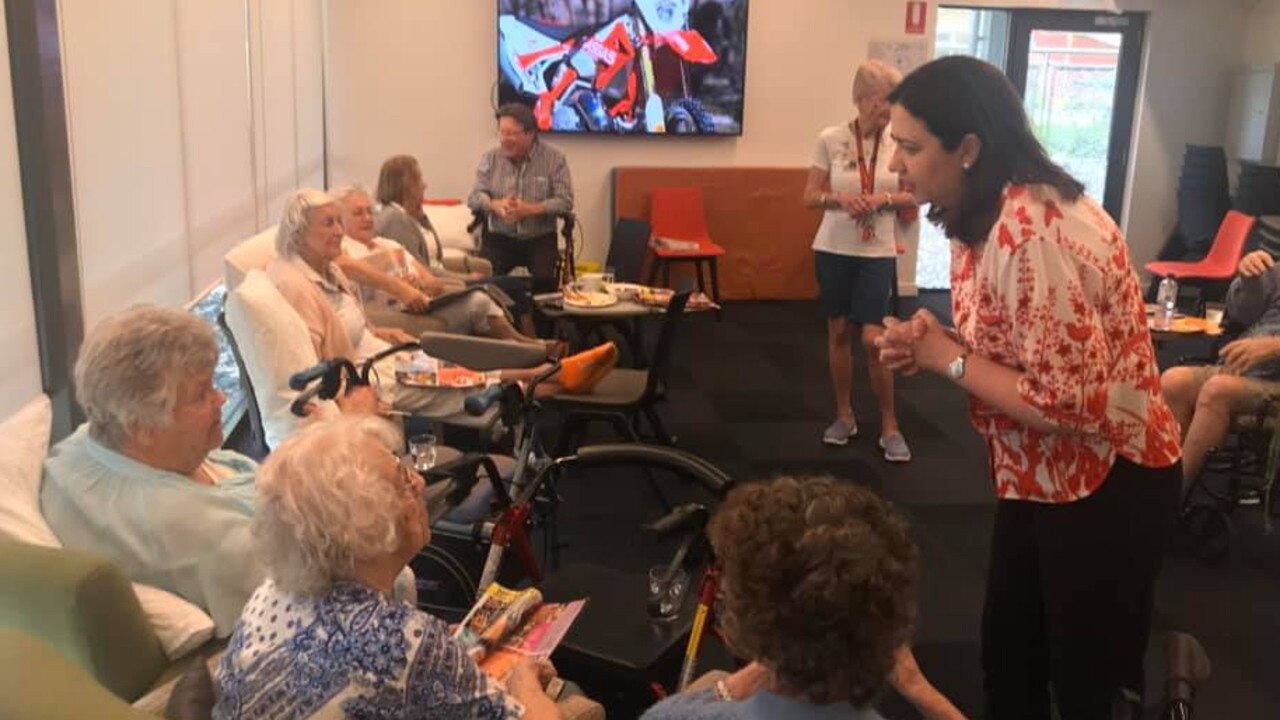 Queensland Premier Annastatcia Palaszczuk visiting evacuated aged care residents from Carramar in Tewantin.