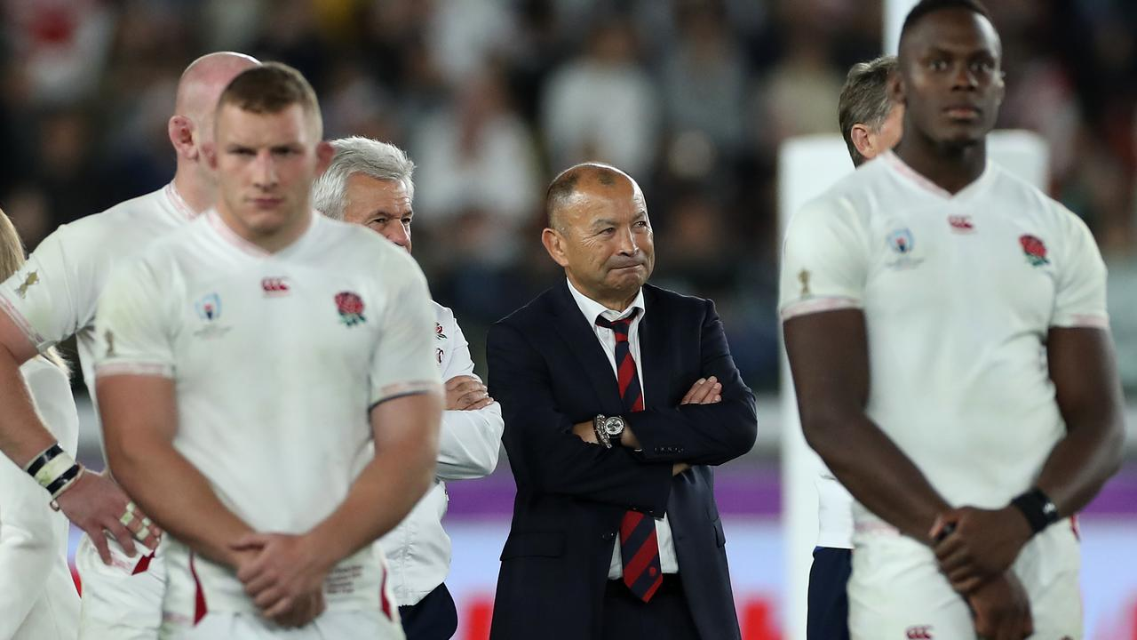 Eddie Jones, the England head coach, looks dejected after their defeat during the World Cup 2019 final