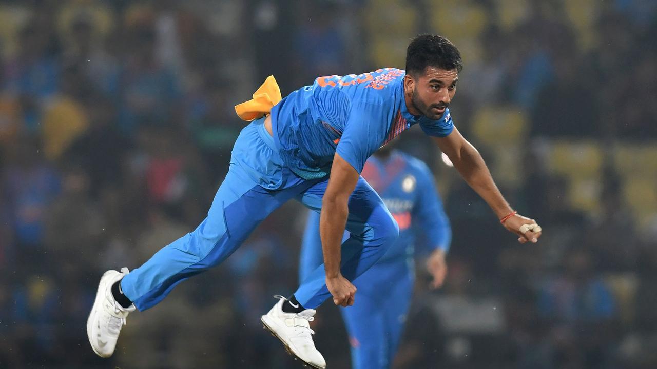 Indian bowler Deepak Chahar in full flight.