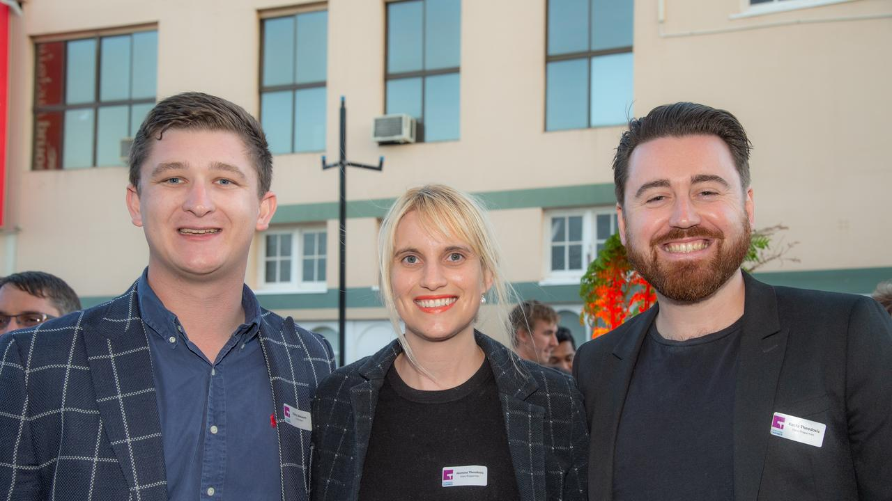 Chris Stewart (LJ Hooker), Jasmine Theodosis (Halo Properties), Kosta Theodosis (Halo Properties). Business at Dusk with Bernoth Properties and LJ Hooker Toowoomba in Bell St Mall on October 23.