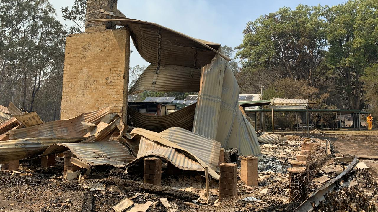 Bobin Public School has been destroyed in the NSW bushfires. Picture: Anton Rose