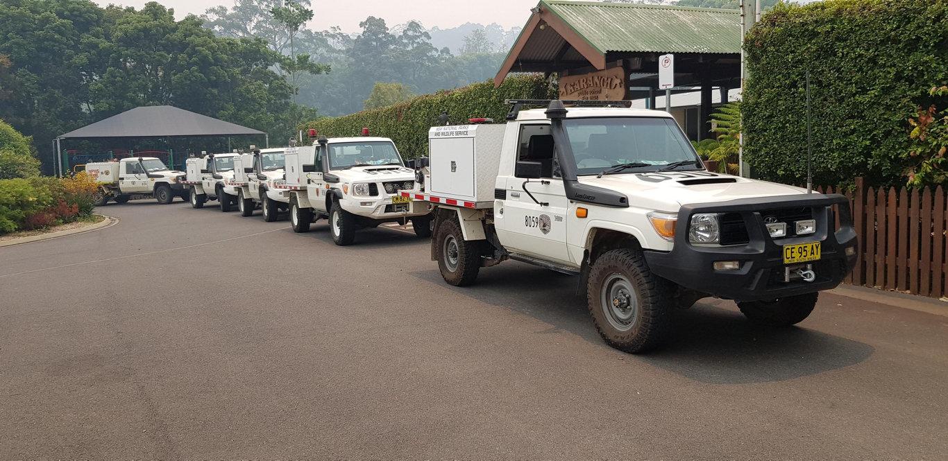 NPWS fireys are preparing at Karangi Public School.