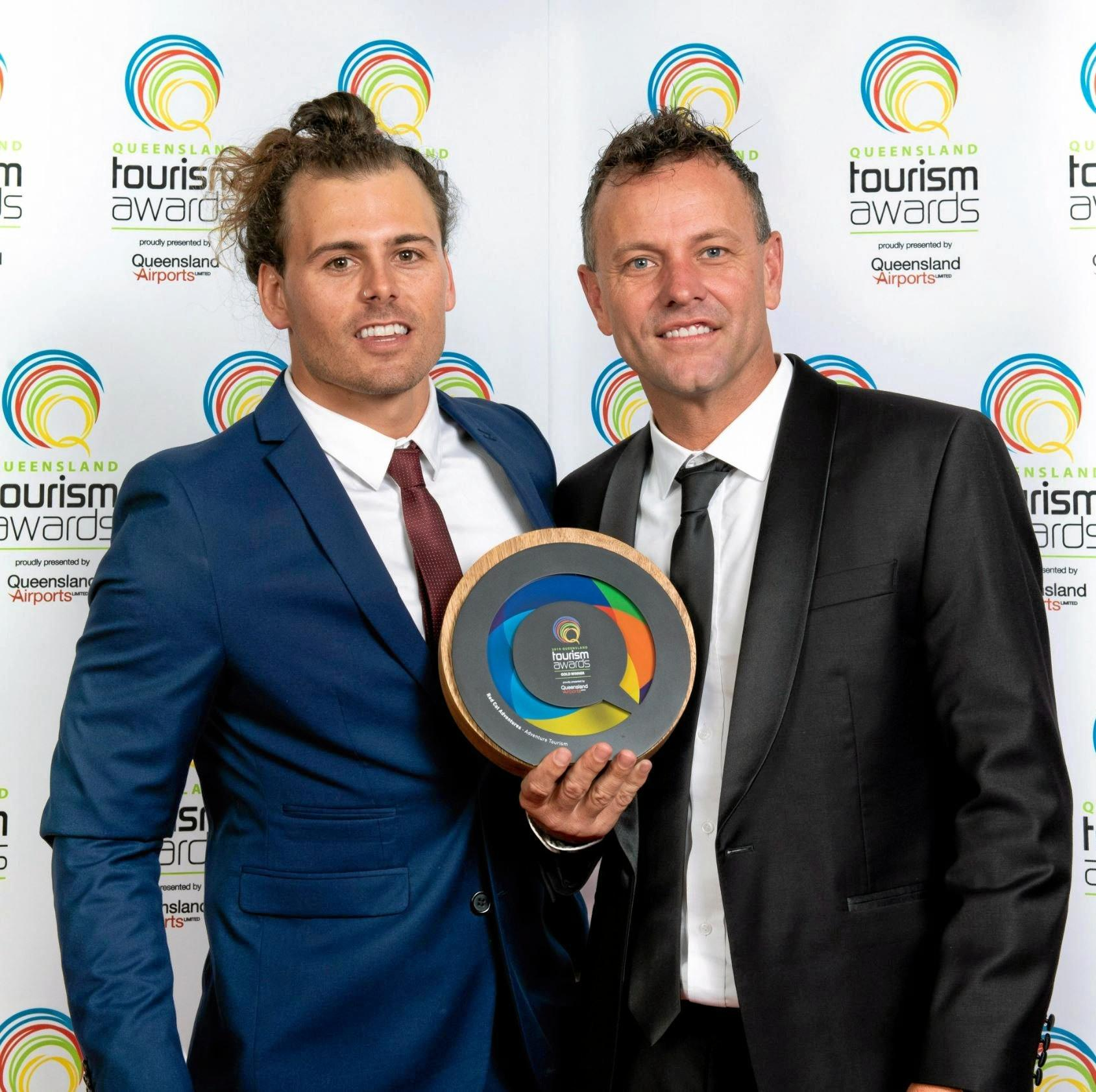 Red Cat Adventures sales and marketing manager Chris Leverington and company director Asher Telford at the 2019 Queensland Tourism Awards.