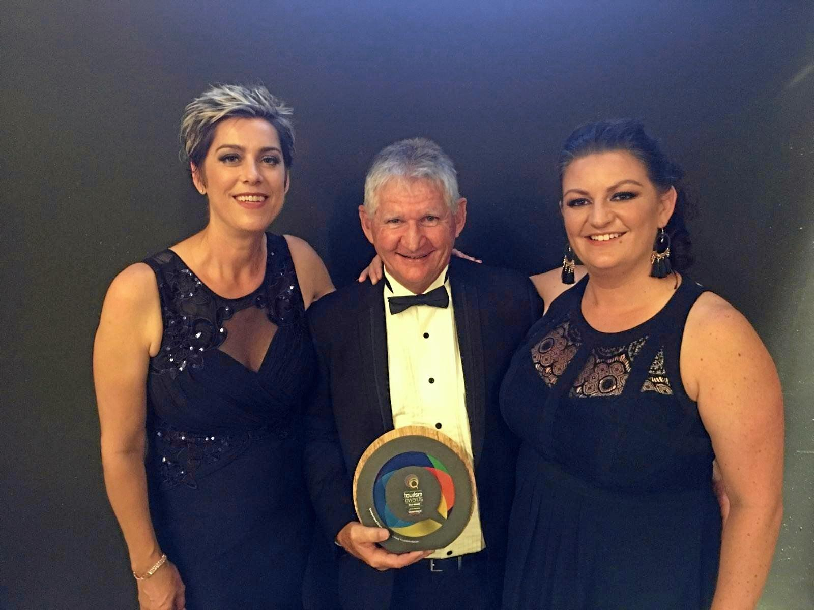 Cumberland Charter Yachts general manager Sharon McNally, managing director Charlie Preen and sales and marketing manager Mercedes Ireland at the 2019 Queensland Tourism Awards. Cumberland Charter Yacht picked up gold in the unique accommodation category.