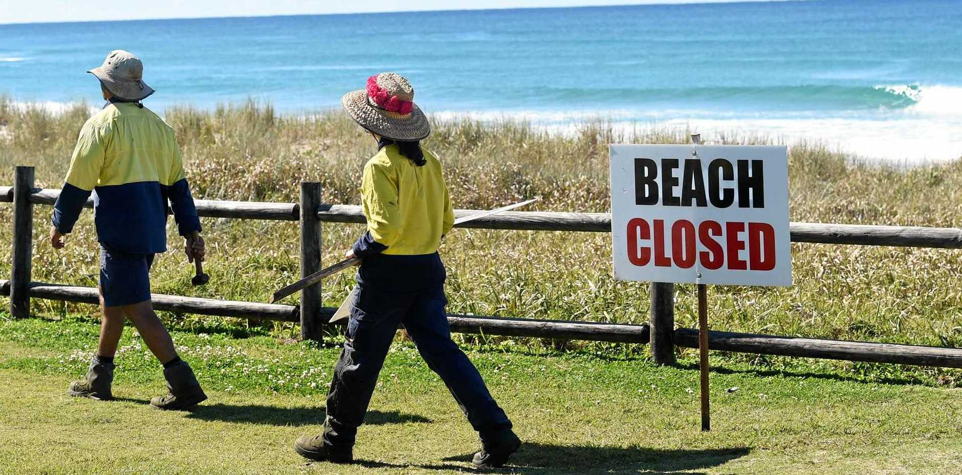 SIGHTING: 7 Mile Beach at Lennox Head was closed after a reported shark sighting in the area. Photo Marc Stapelberg / The Northern Star