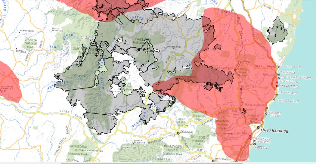 Projections for the Liberation Trail fire north-west of Coffs Harbour.