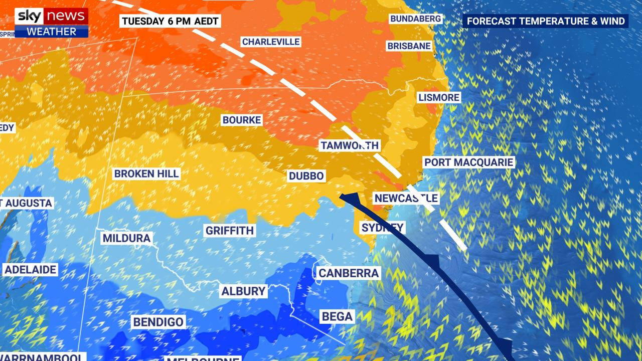 The cold front that is due to hit Sydney later today is the real bushfire driver. Picture: Sky News