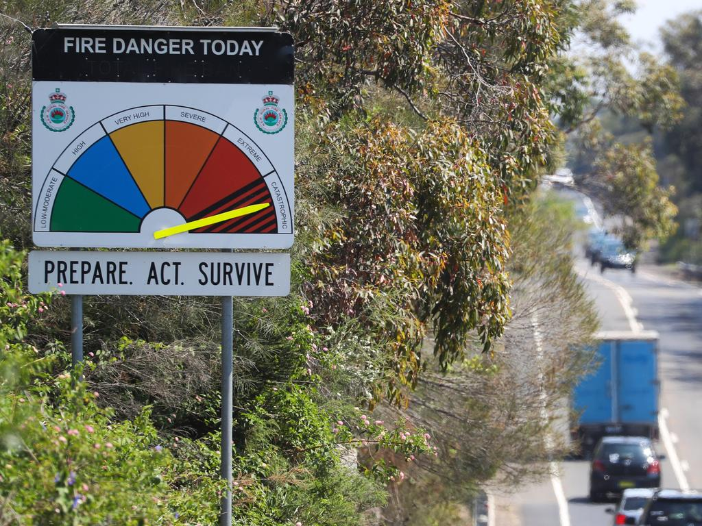 A RFS Catastrophic sign on the Wakehurst Parkway at Seaforth today. Picture: John Grainger