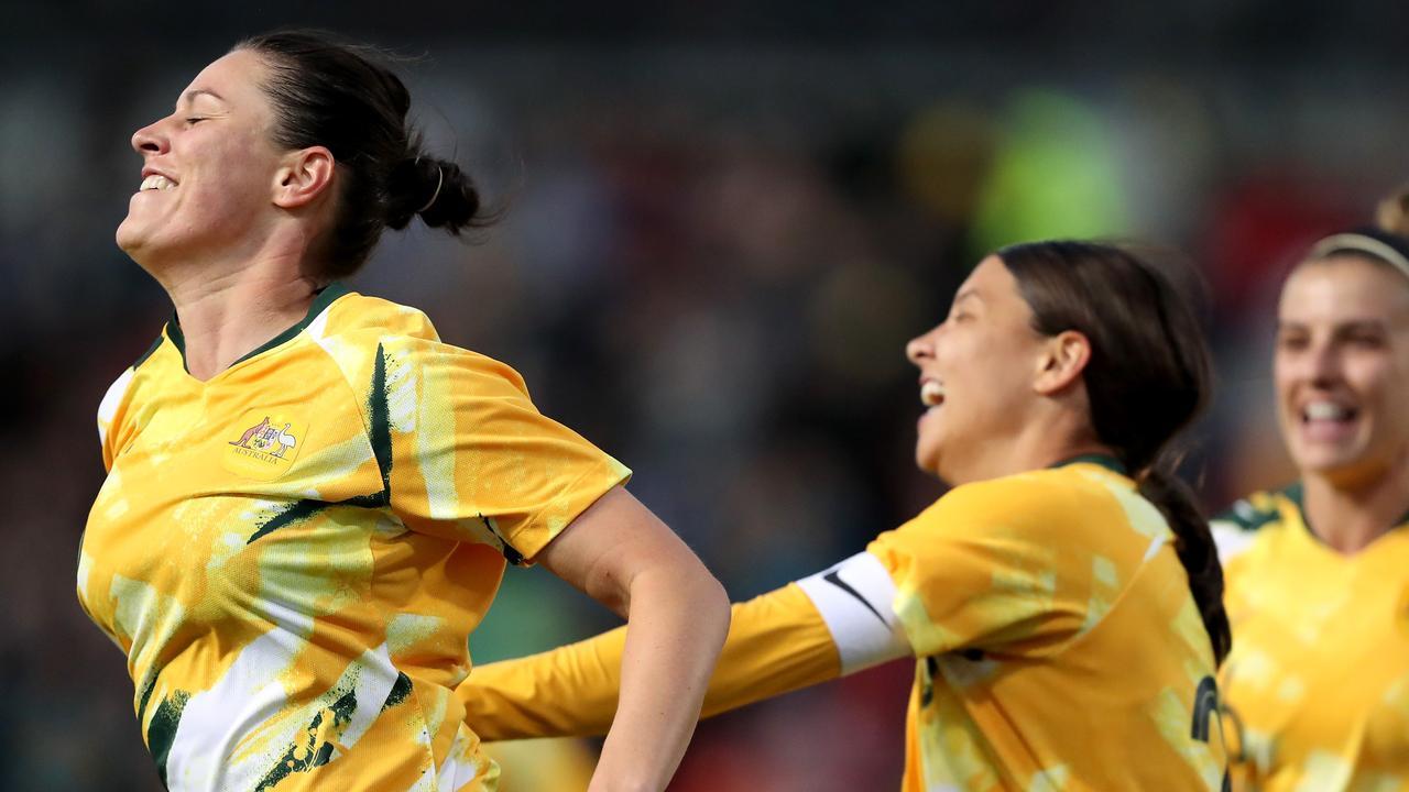 Emily Gielnik celebrates scoring for the Matildas against Chile. Picture: AAP