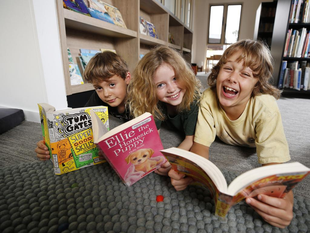 Noah Rinaldi, Holly Owen and George Henderson at Brisbane Montessori School. Picture: AAP