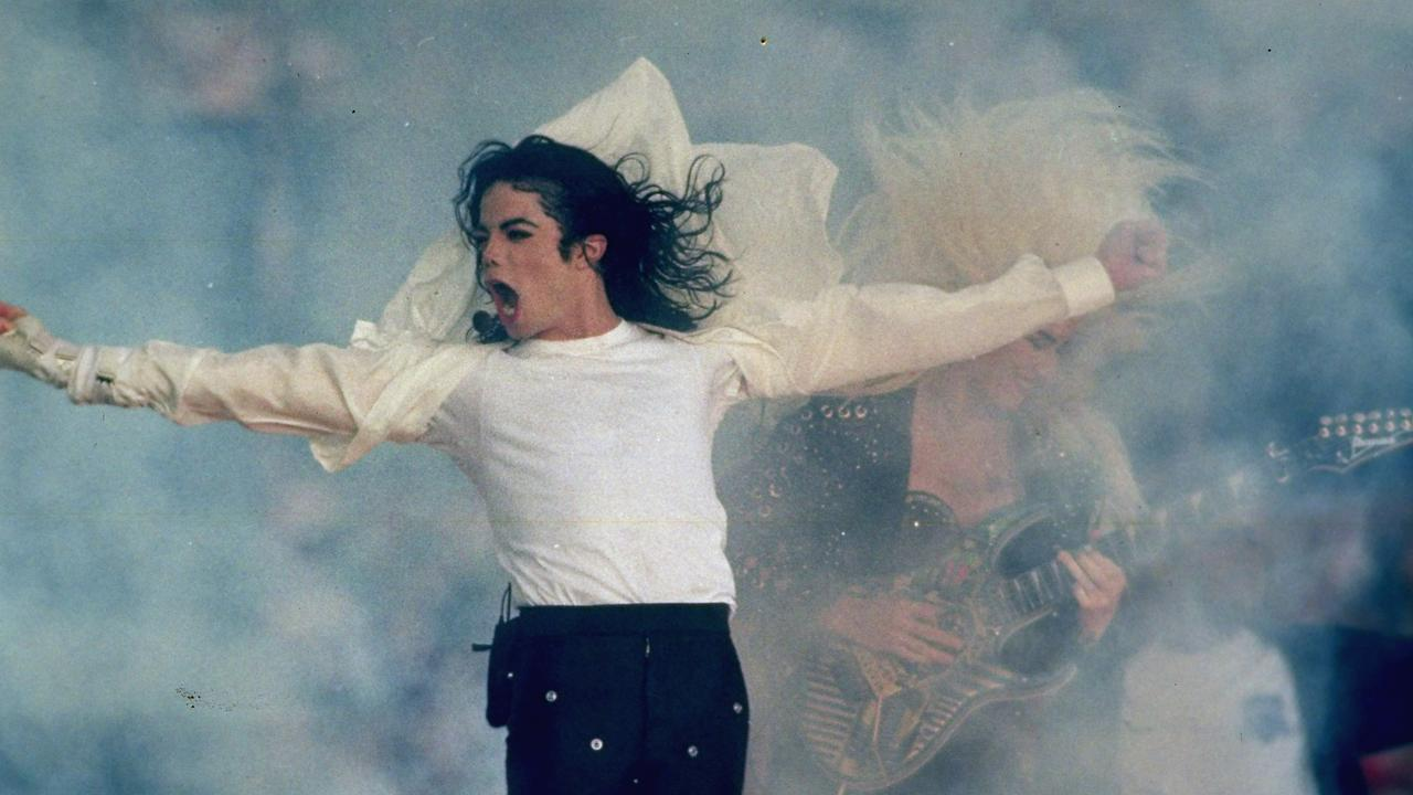Michael Jackson performs during the halftime show of the Super Bowl, earlier in 1993. Picture: AP Photo/Rusty Kennedy