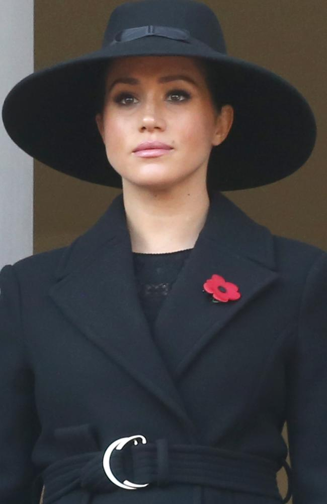 Meghan, Duchess of Sussex attends the annual Remembrance Sunday memorial at The Cenotaph in London, wearing a Stella McCartney coat. Picture: Trevor Adams/Matrix Pictures