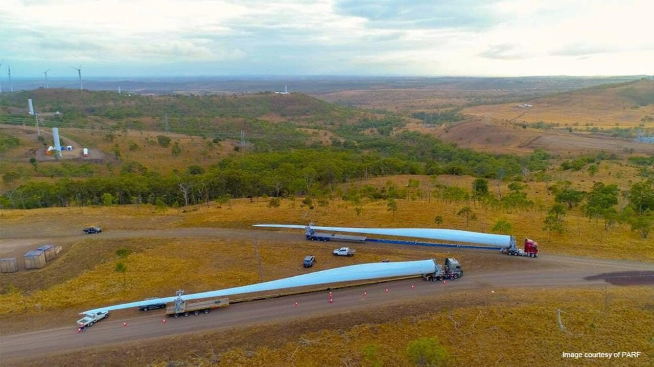 LONG DRIVE: Transporting the turbine blades.