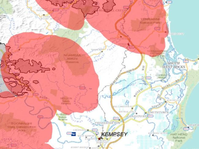 A map of the predicted fire path near Kempsey. Picture: NSW RFS