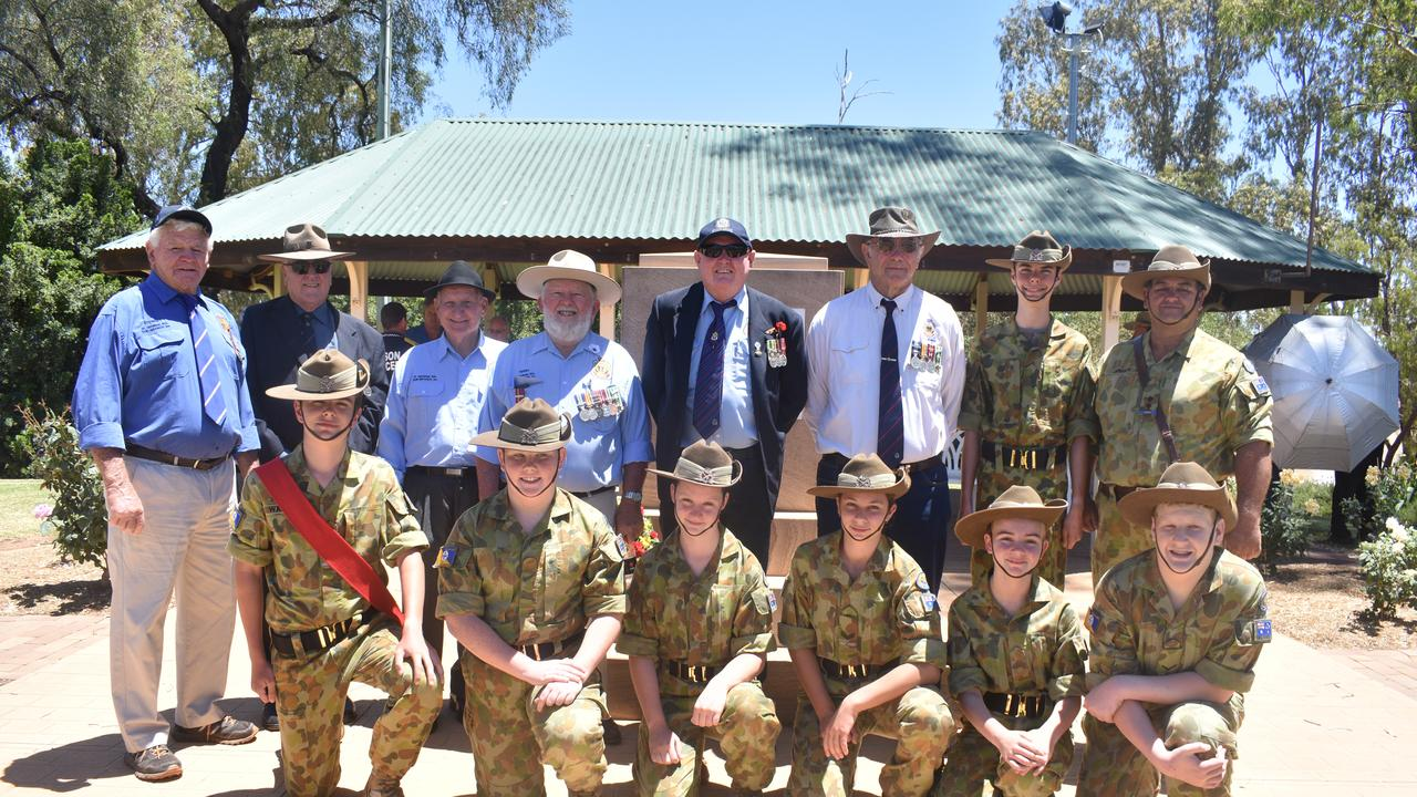 Veterans Stewart Marsh, Graham Nosse, Cecil West, Terry Salmon, Karl Hempstead, Rod Cassidy, with young Cadets