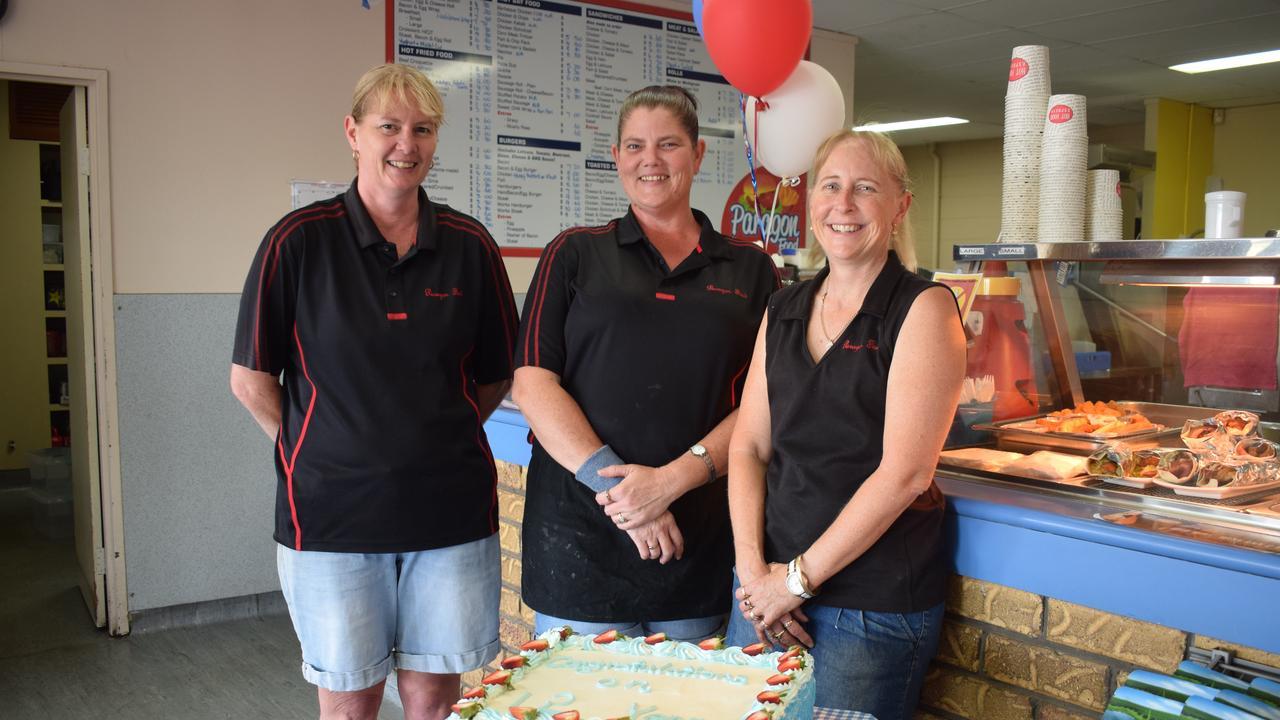 MILESTONE: Paragon Food staff Karen Kent, Bernie Millers and owner Karen Bayliss celebrating the shop's 12th birthday on November 12.