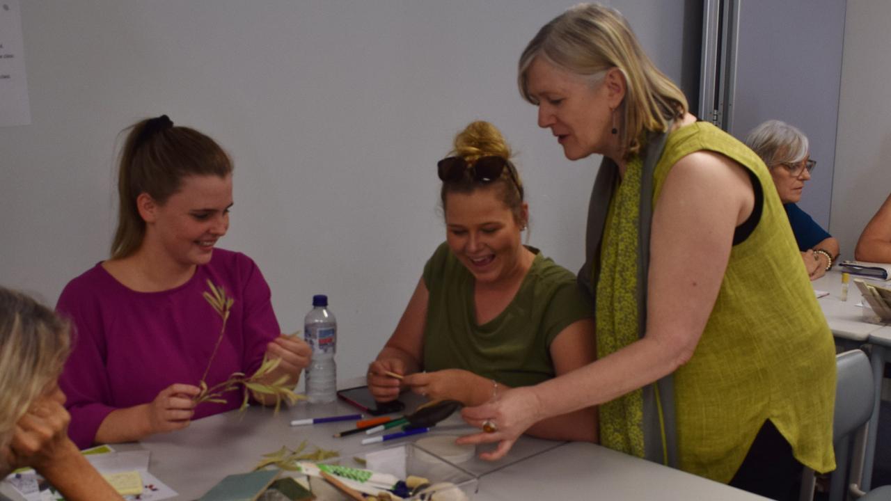Childcare educators Jennifer Hamilton and Jordana Shields with facilitator Karen Szydlik at the Reggio Australia workshop 9 November 2019