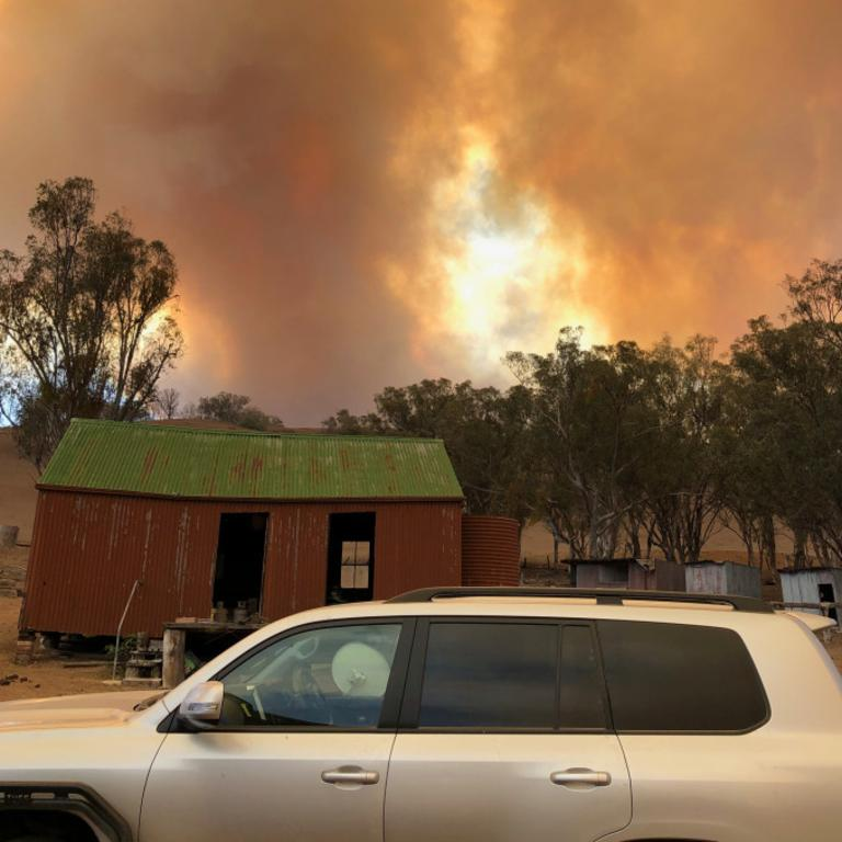 Barnaby Joyce sent through a photo of the fire threatening the property. Picture: 2BG
