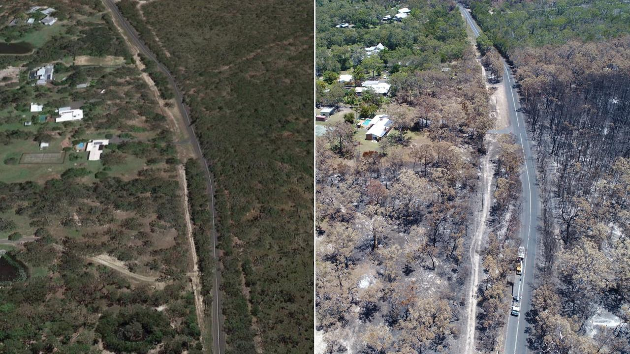 The extent of the Cooroibah bushfires has been revealed as residents are urged to stay alert while crews monitor the area. Photo: Google Earth/Patrick Woods