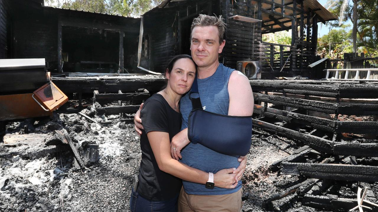 Holly and David Kemp at their devastated home in Cooroibah. Picture: Annette Dew