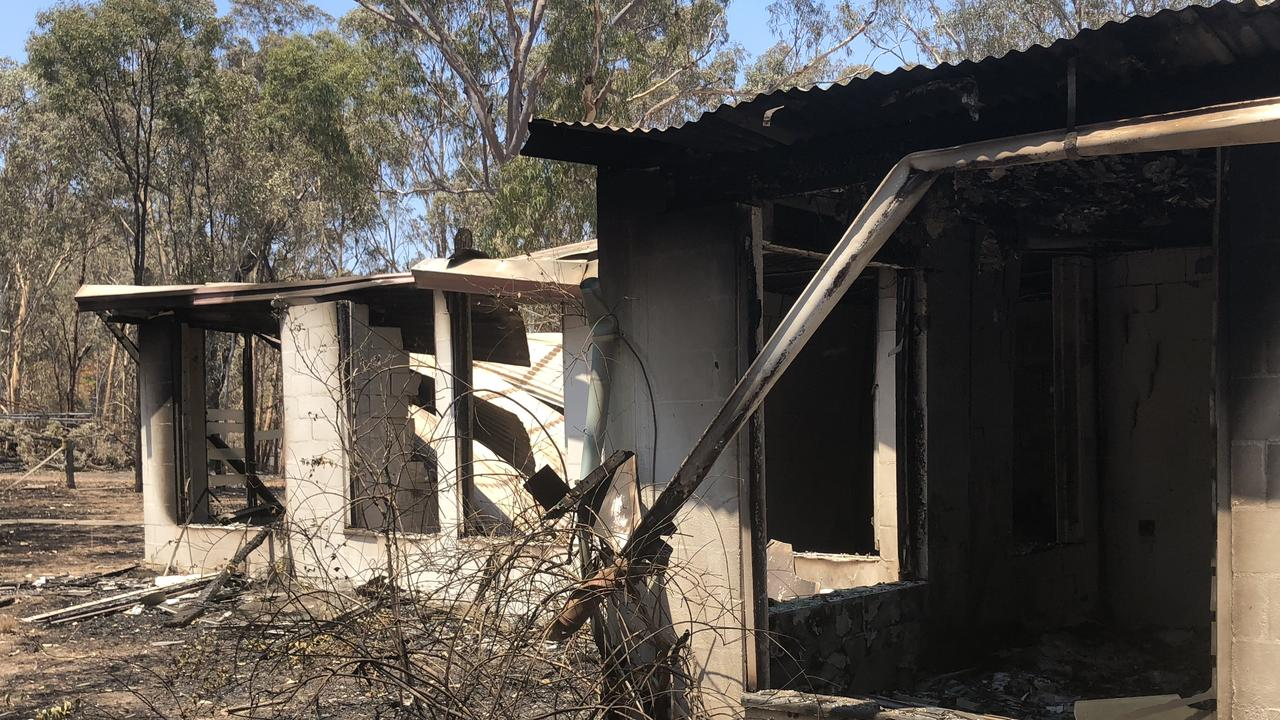 Burnt out remains of a home next to the custard apple orchards on Byfield Rd