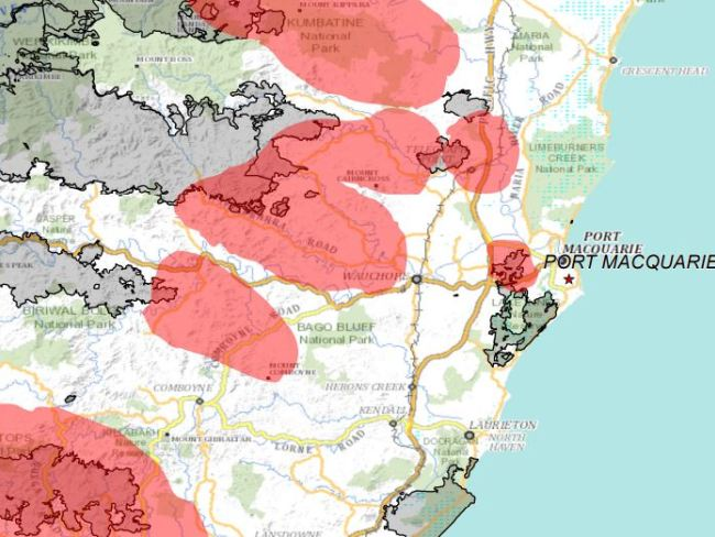 A map of the predicted fire path near Port Macquarie. Picture: NSW RFS
