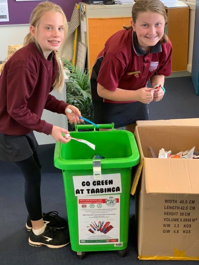 Kingaroy Taabinga State School students enlisted the help of the broader community to recycle more than 10,000 items to win a recycled community garden set.