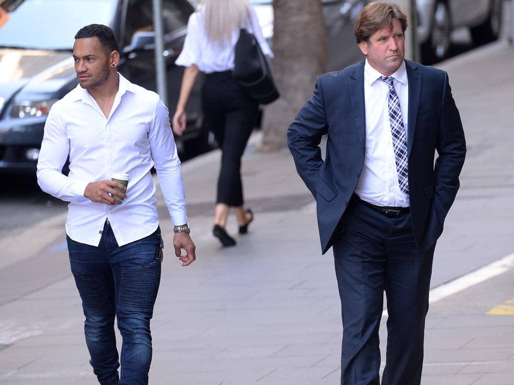Des Hasler (right) and Apisai Koroisau came to court to support Fainu.
