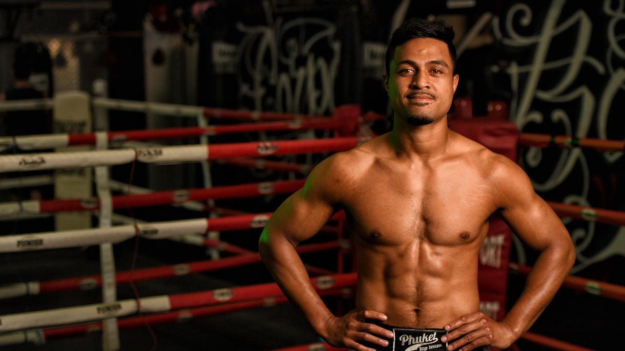 Muay Thai fighter Jonathan Aiulu photographed at Corporate Box gym in Bundamba.