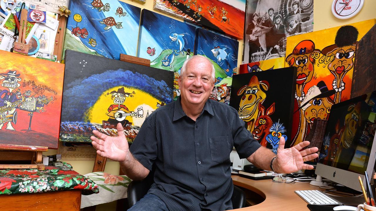 Mackay artist Rob Wiezel in his studio. Photo Tony Martin / Daily Mercury