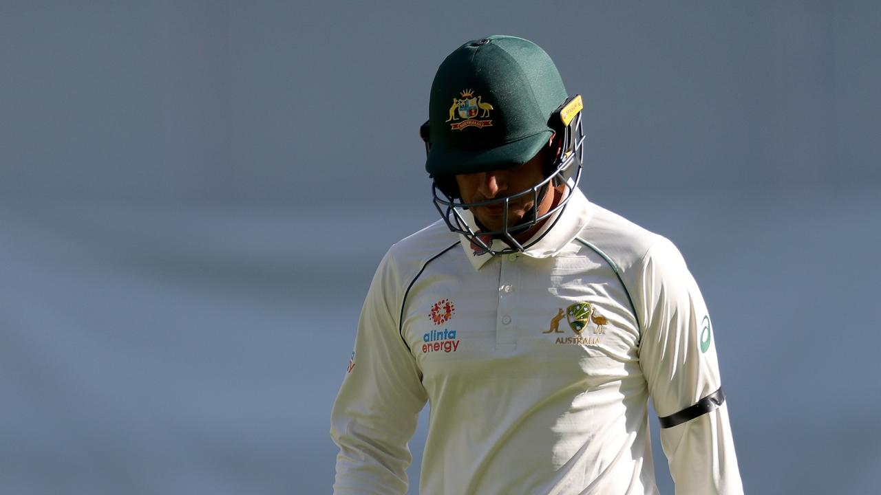Usman Khawaja walks from the field in Perth. Picture: AAP/Richard Wainwright