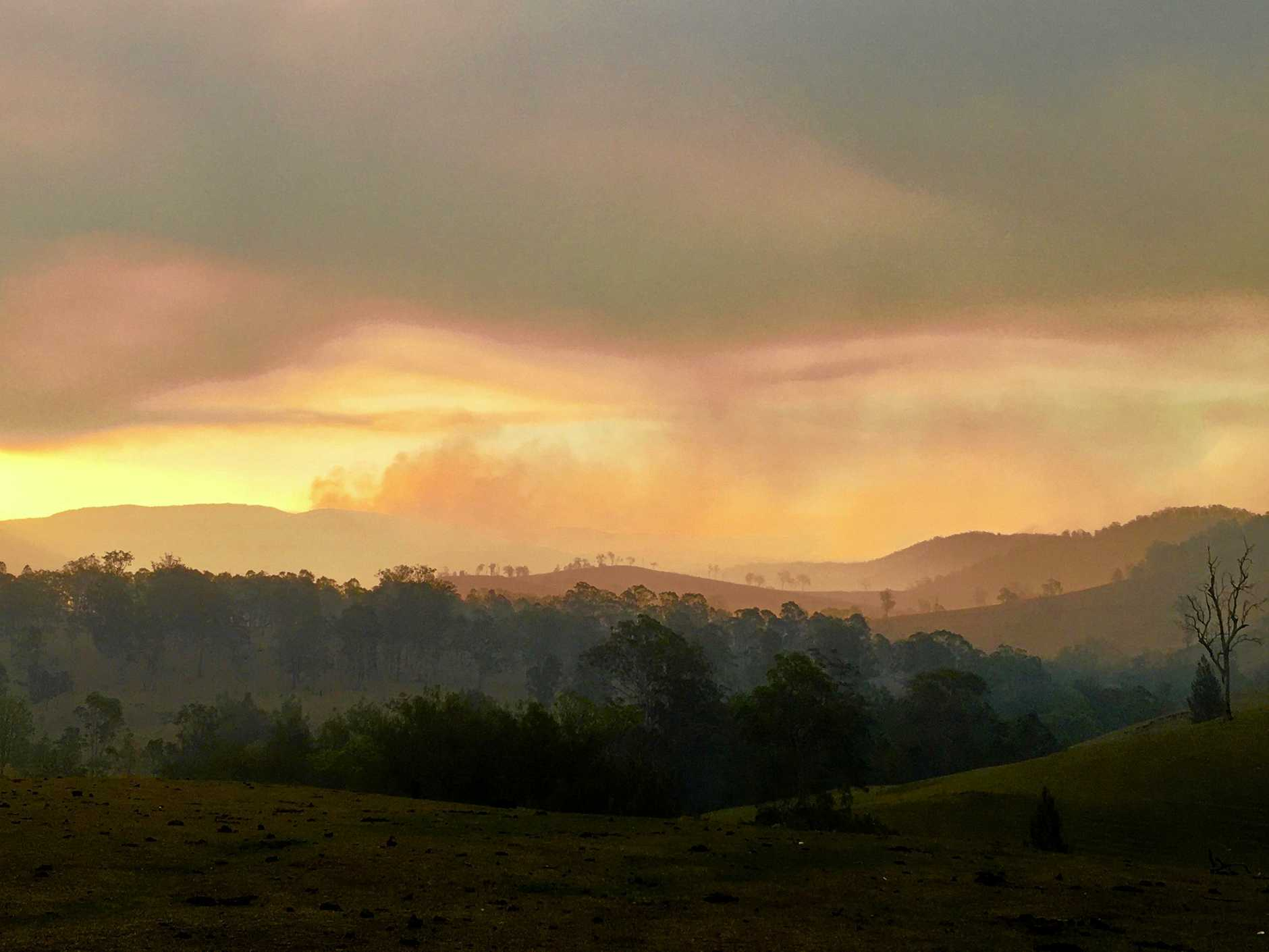 Smoke over Washpool State Forest has been familiar sight for days.