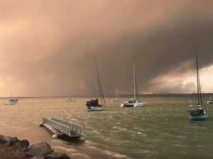 Woodgate fires seen from Burrum Heads