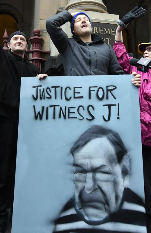 Supporters of abuse victims after Pell's appeal was rejected in August. Picture: Julian Smith/AAP Source:AAP