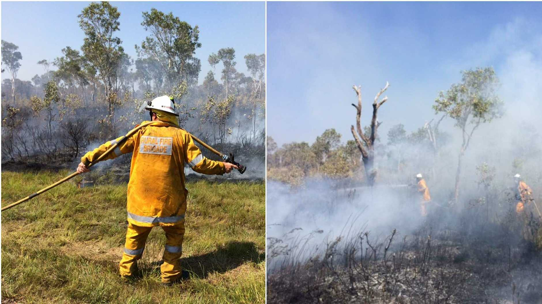 Multiple crews are on the frontlines battling a blaze that broke out this morning at Noosa North Shore near the First Cutting. Photos: Patrick Woods