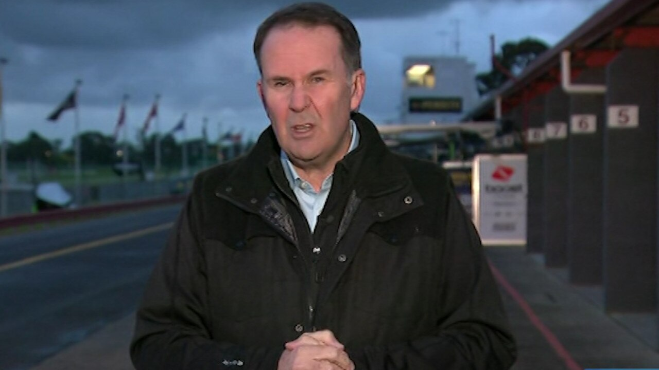Jones' live cross was excruciatingly awkward. Picture: Channel 9