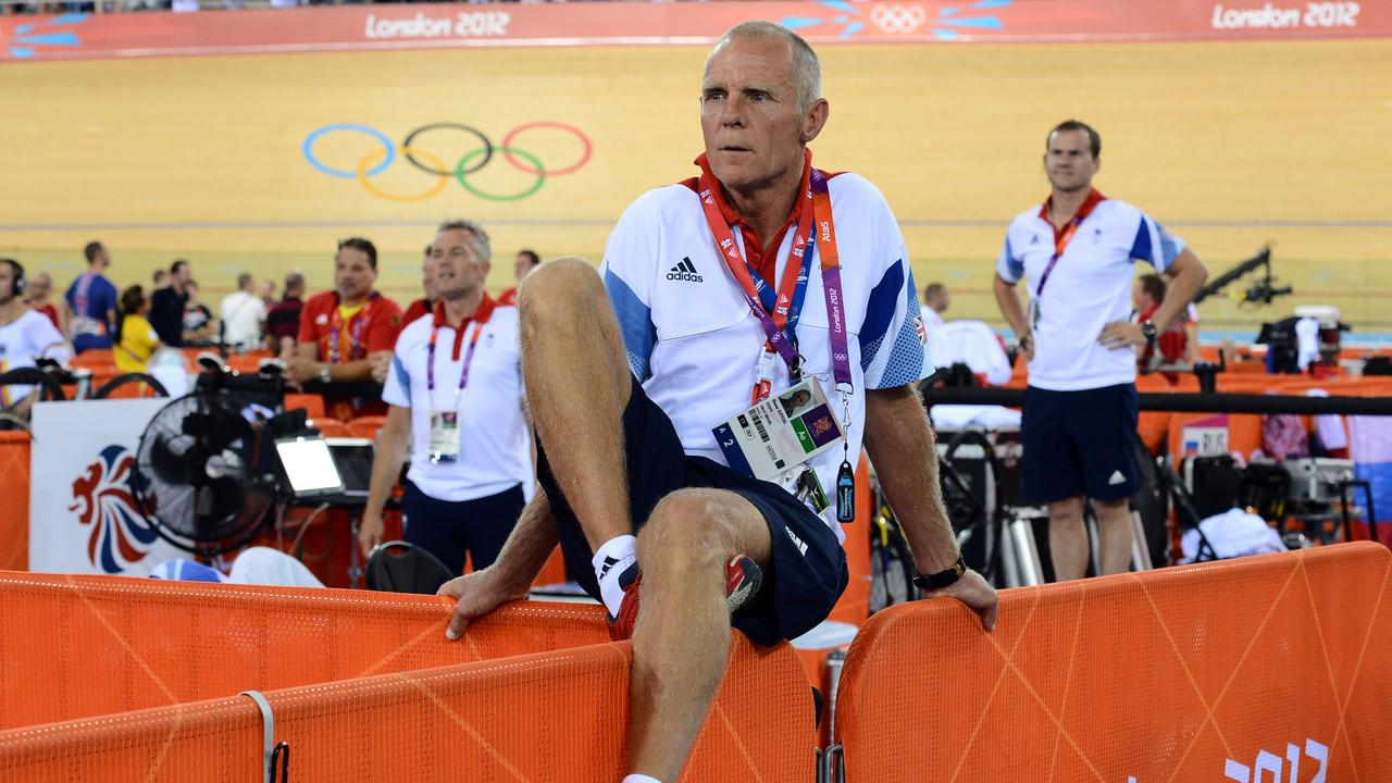 Shane Sutton at the London 2012 Olympic Games. / AFP PHOTO / CARL DE SOUZA