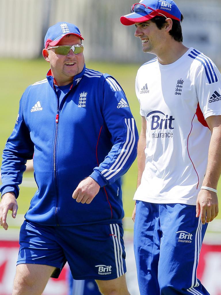 FLASHBACK: David Saker with English captain Alastair Cook.