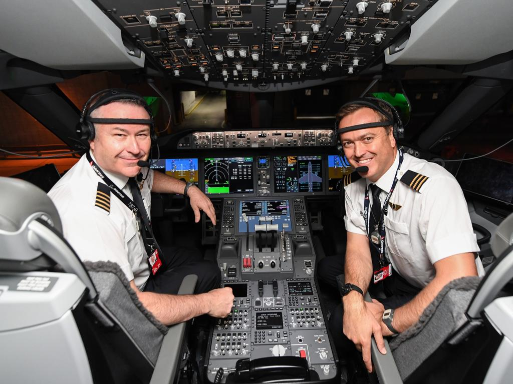 Captain Sean Golding (left) and first officer Jeremy Sutherland about to fly to Australia on October 18, 2019 on the flight from New York to Sydney. Picture: James D. Morgan/Getty Images for Qantas.