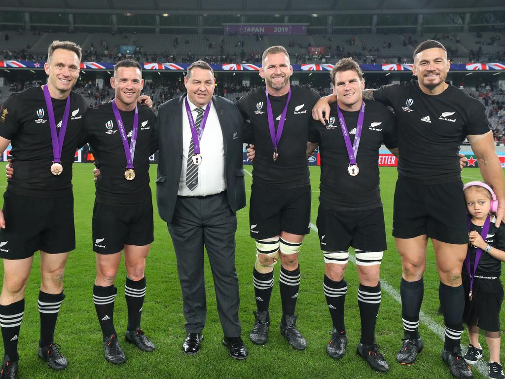 The end of an era: Ben Smith, Ryan Crotty, Steve Hansen, Kieran Read, Matt Todd and Sonny Bill Williams.