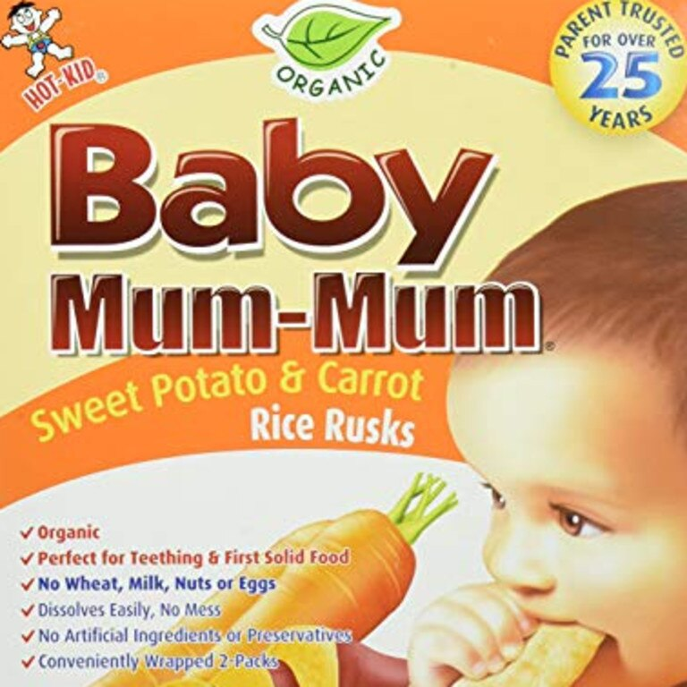 These baby teething rusks are high in sugar.