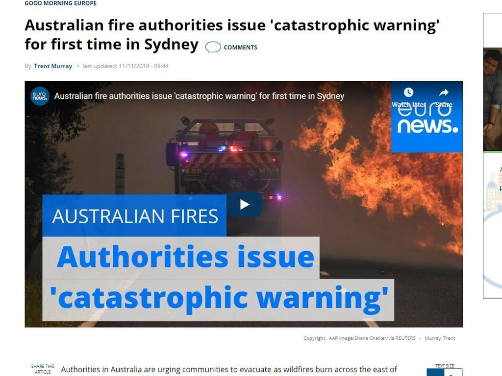 The world's media reacts to Australia's bushfire emergency.