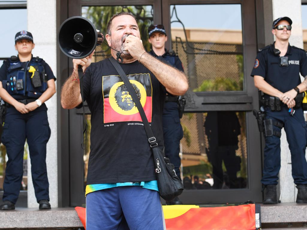 David Cole speaks to a rally at State Square w to protest the shooting death of 19-year-old Kumanjayi Walker in Yuendumu. Picture: Katrina Bridgeford